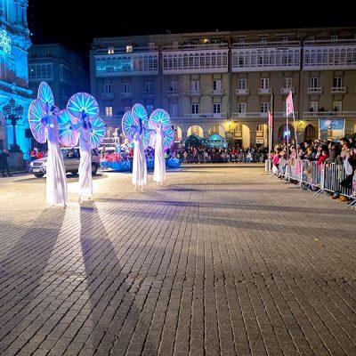 Le tableau des Nymphéas, échassiers lumineux sur la Place Maria Pia pour la fête des Rois Mages